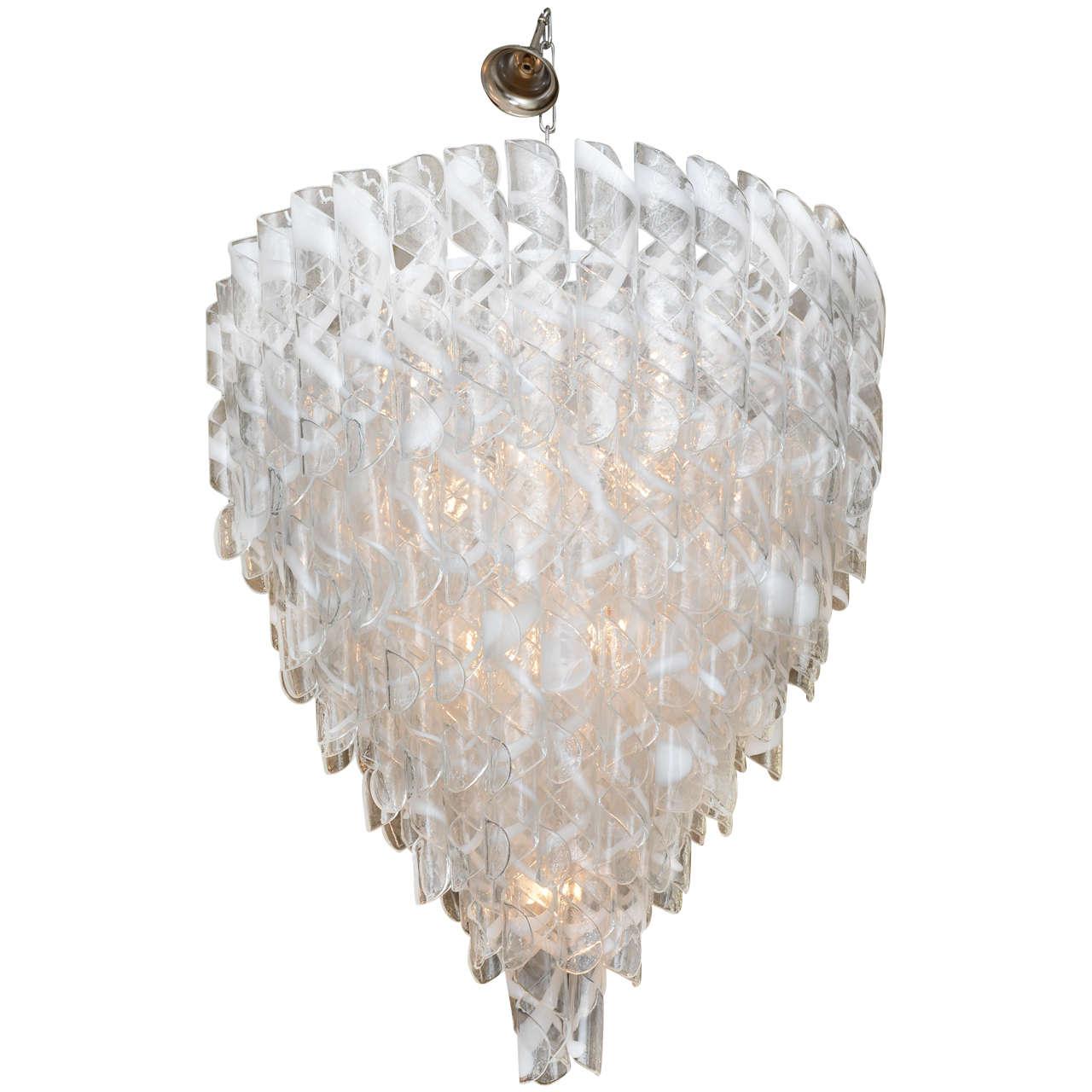 Glass Chandelier Modern: Monumental Italian Modern Glass Chandelier, Mazzega 1,Lighting