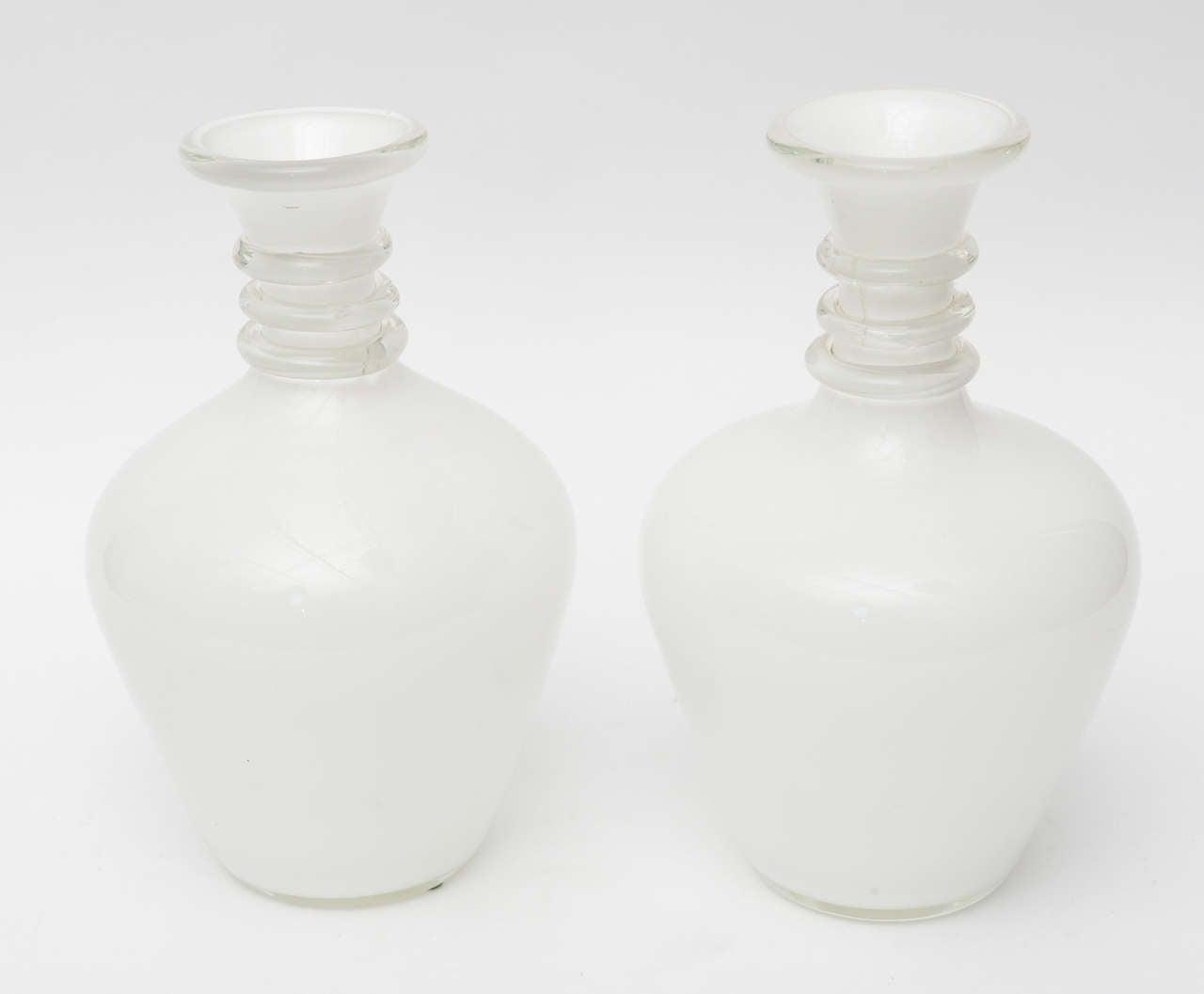 Fine Pair Italian Glass Decanters, Seguso, Murano For Sale 2