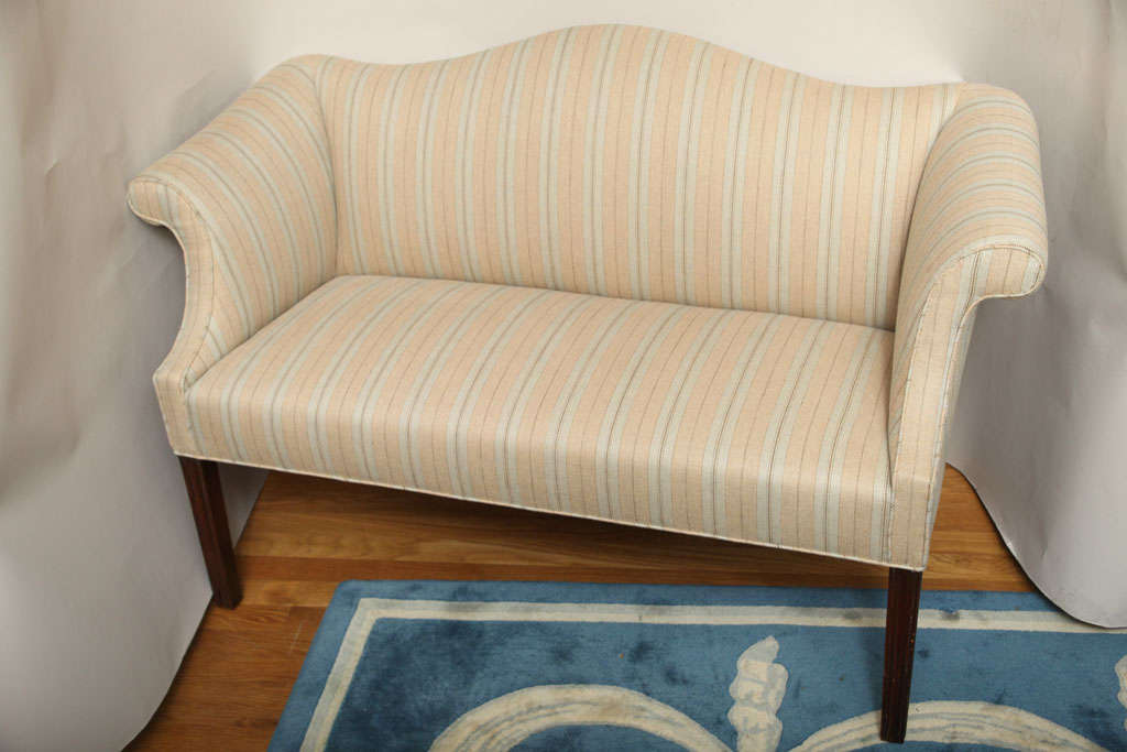 A Small Scale Chinese Chippendale Style Camelback Sofa At