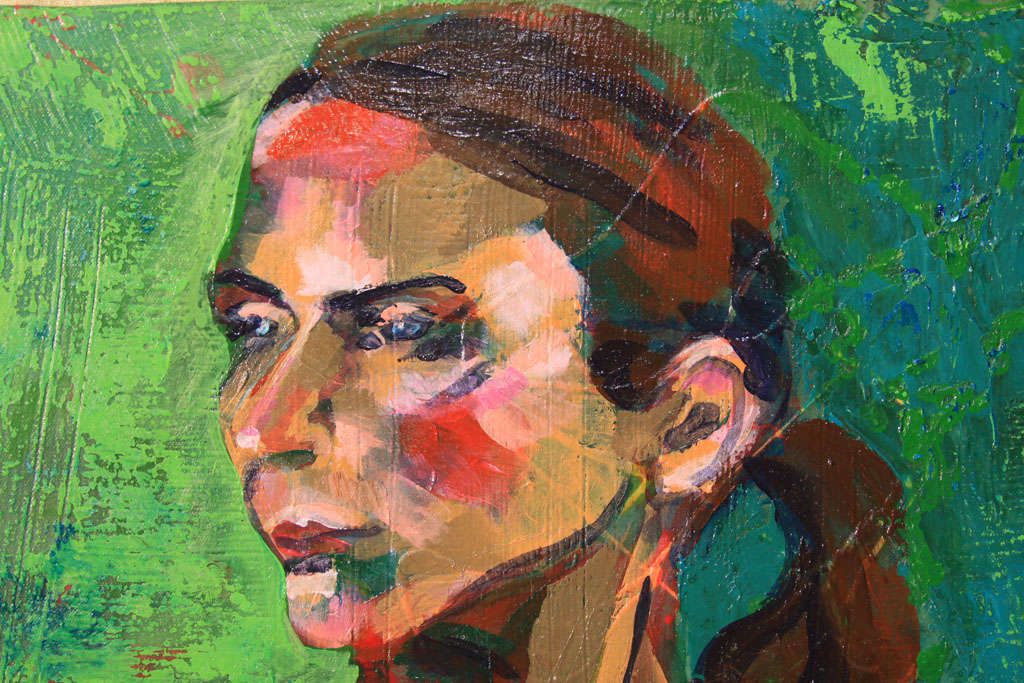 American Nude Oil Painting in Green For Sale