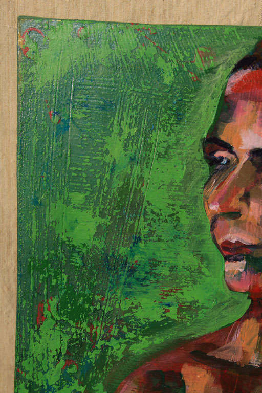 Nude Oil Painting in Green In Good Condition For Sale In Seattle, WA