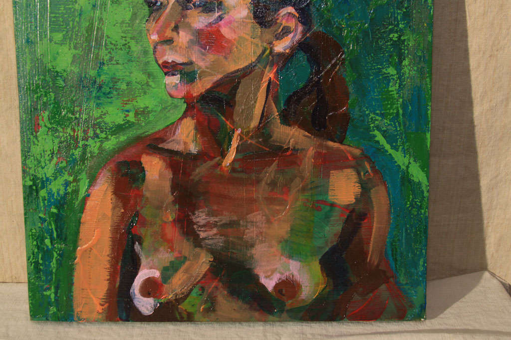 20th Century Nude Oil Painting in Green For Sale