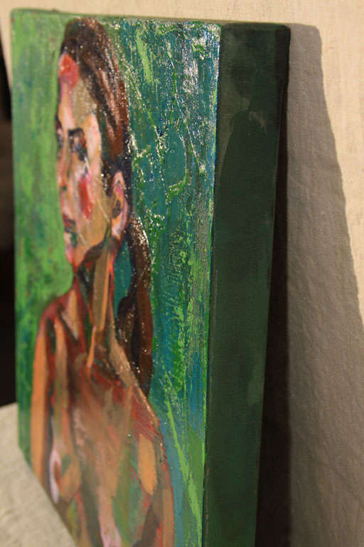 Canvas Nude Oil Painting in Green For Sale