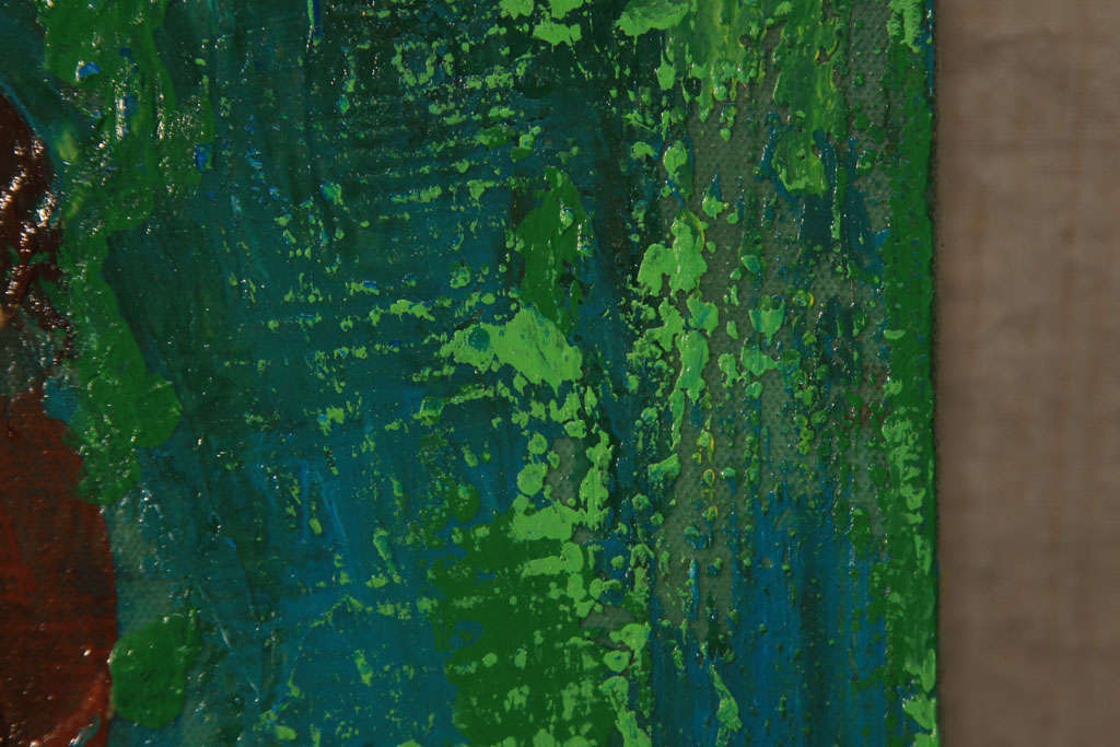 Nude Oil Painting in Green For Sale 1