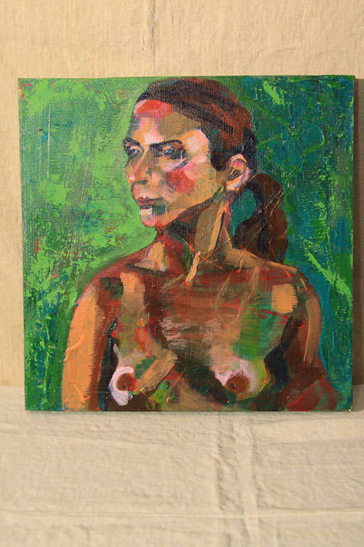 Striking nude boldly painted in reds, pink and green.