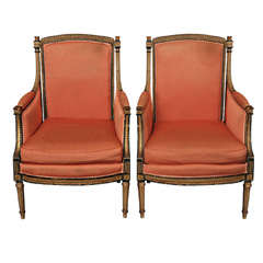 Pair French Louis XVI-style Bergeres