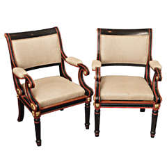SATURDAY SALE Handsome Pair Regency-Style Painted Armchairs