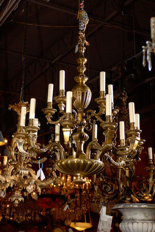Incredible gilt bronze two tiered Regence style chandelier, 15 lights, amazing quality.