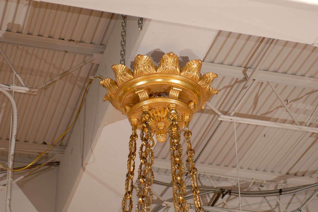 Antique Chandelier. Imposing giltwood and alabaster chandelier For Sale 3