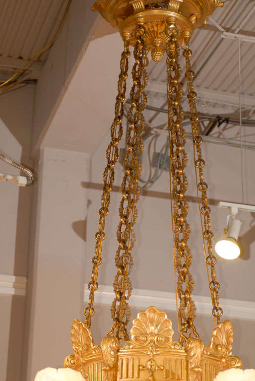 Empire Antique Chandelier. Imposing giltwood and alabaster chandelier For Sale