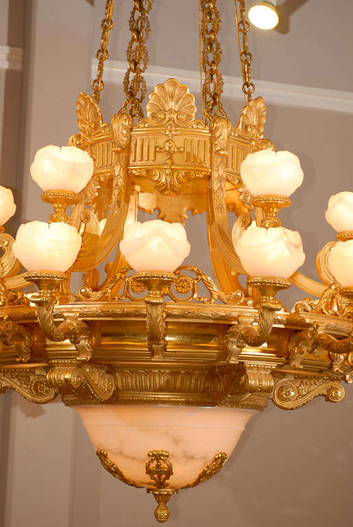 Russian Antique Chandelier. Imposing giltwood and alabaster chandelier For Sale