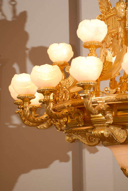 Antique Chandelier. Imposing giltwood and alabaster chandelier In Excellent Condition For Sale In Atlanta, GA