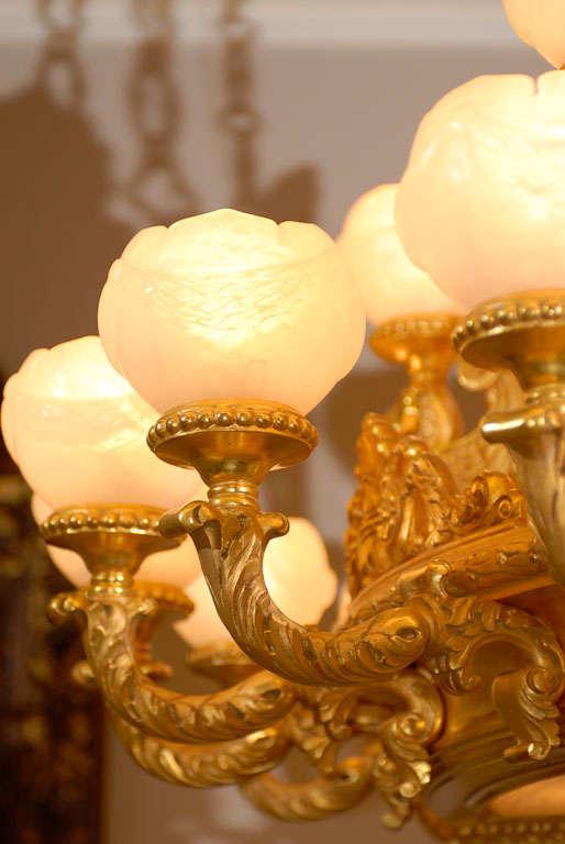 Alabaster Antique Chandelier. Imposing giltwood and alabaster chandelier For Sale