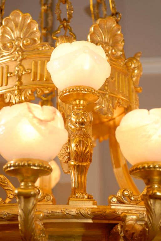 Antique Chandelier. Imposing giltwood and alabaster chandelier For Sale 1
