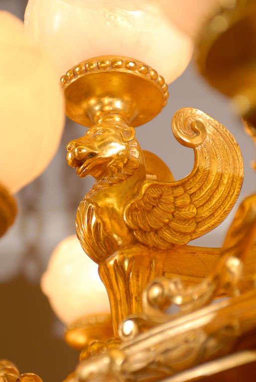 Antique Chandelier. Imposing giltwood and alabaster chandelier For Sale 2