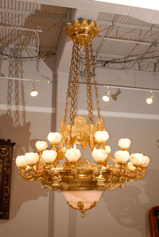 Magnificent giltwood and alabaster Baltic chandelier in the Empire style