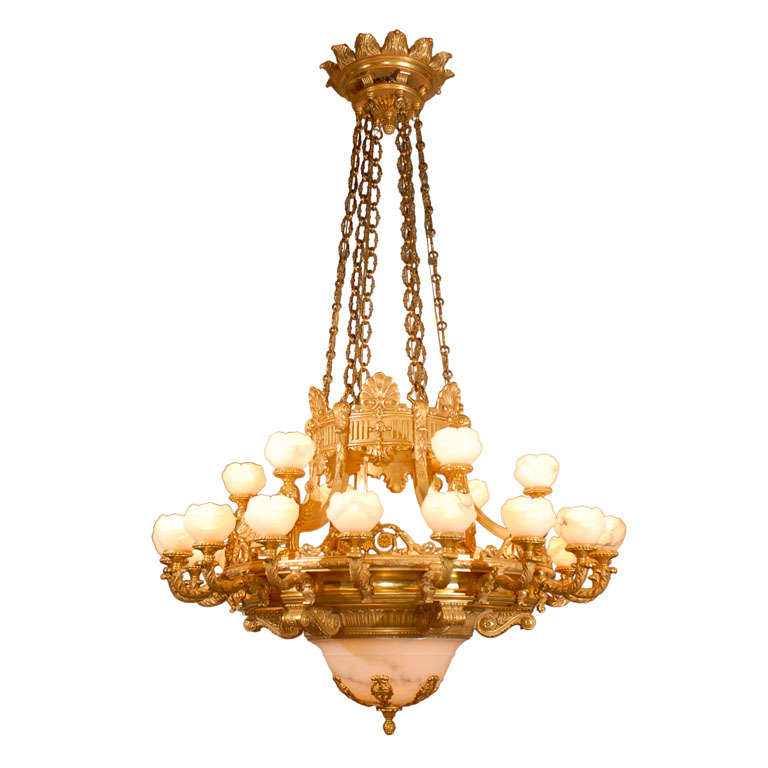 Imposing Giltwood And Alabaster Chandelier At 1stdibs