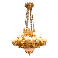 Antique Chandelier. Imposing giltwood and alabaster chandelier