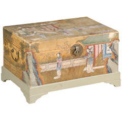 19th Century Chinese Painted Leather Trunk