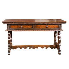 18th Century Italian Large Baroque Style Walnut Library Table