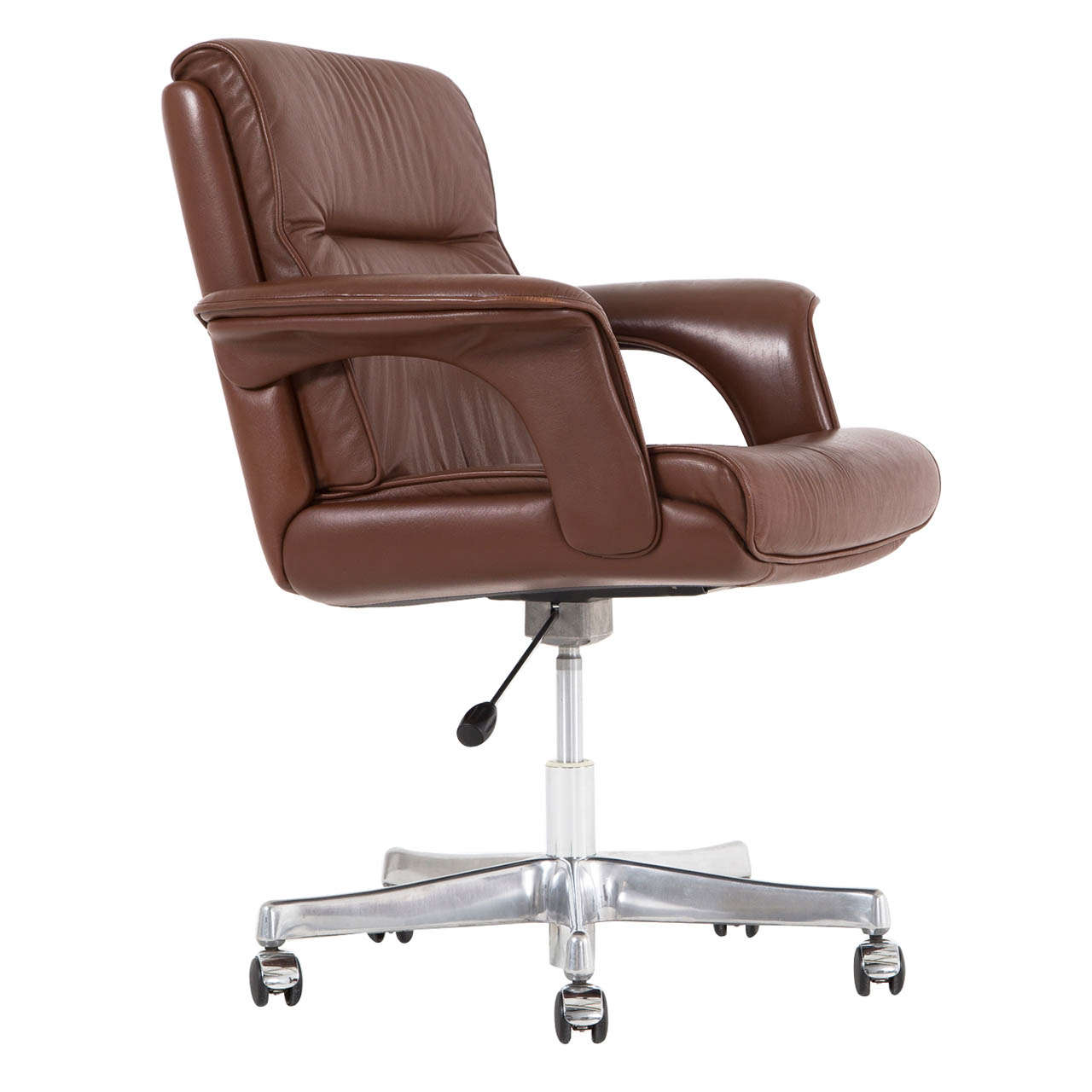 Tan leather office chair - Executive Conference Desk Office Chair In Brown Leather 1
