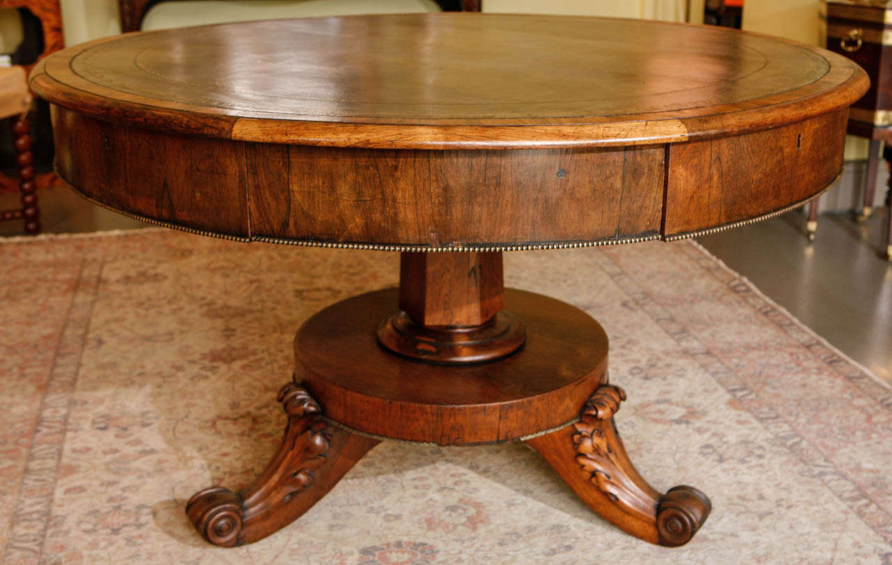 irish mahogany round leather inset library table circa 1850 at 1stdibs. Black Bedroom Furniture Sets. Home Design Ideas