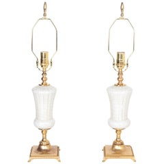 White and Gold-flecked Italian Glass Lamps from Murano, Italy