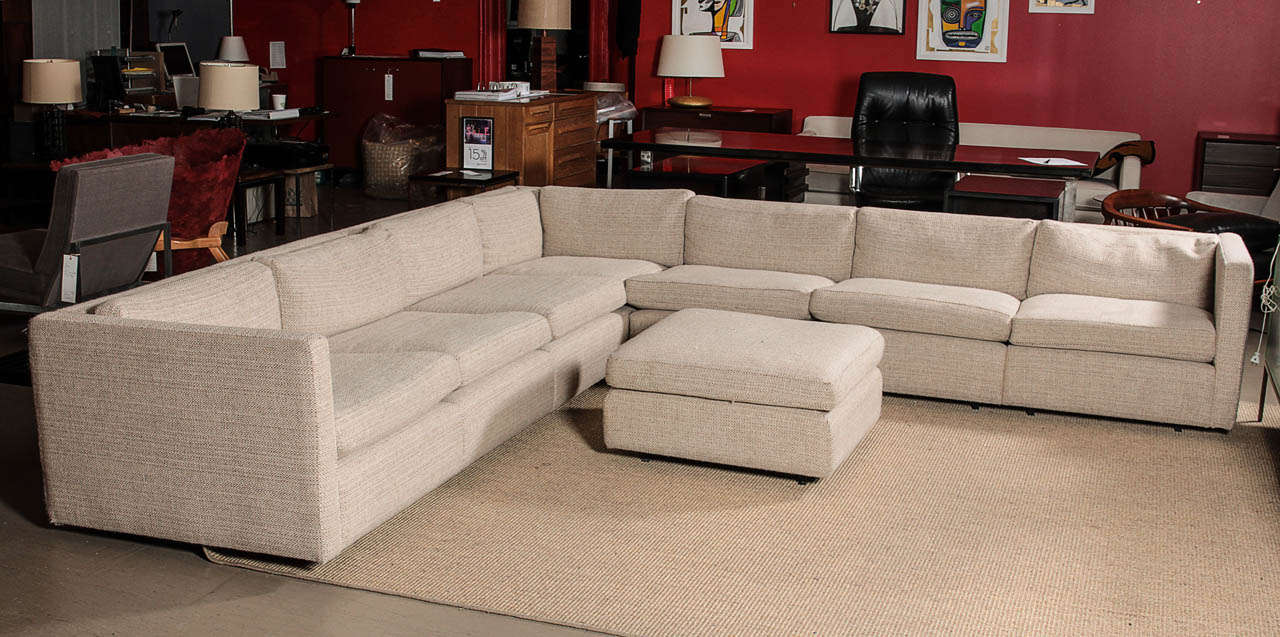 Gentil Charles Pfister Sectional Sofa And Ottoman, Reupholstered In Maharam  Fabric, Mfg. Knoll.