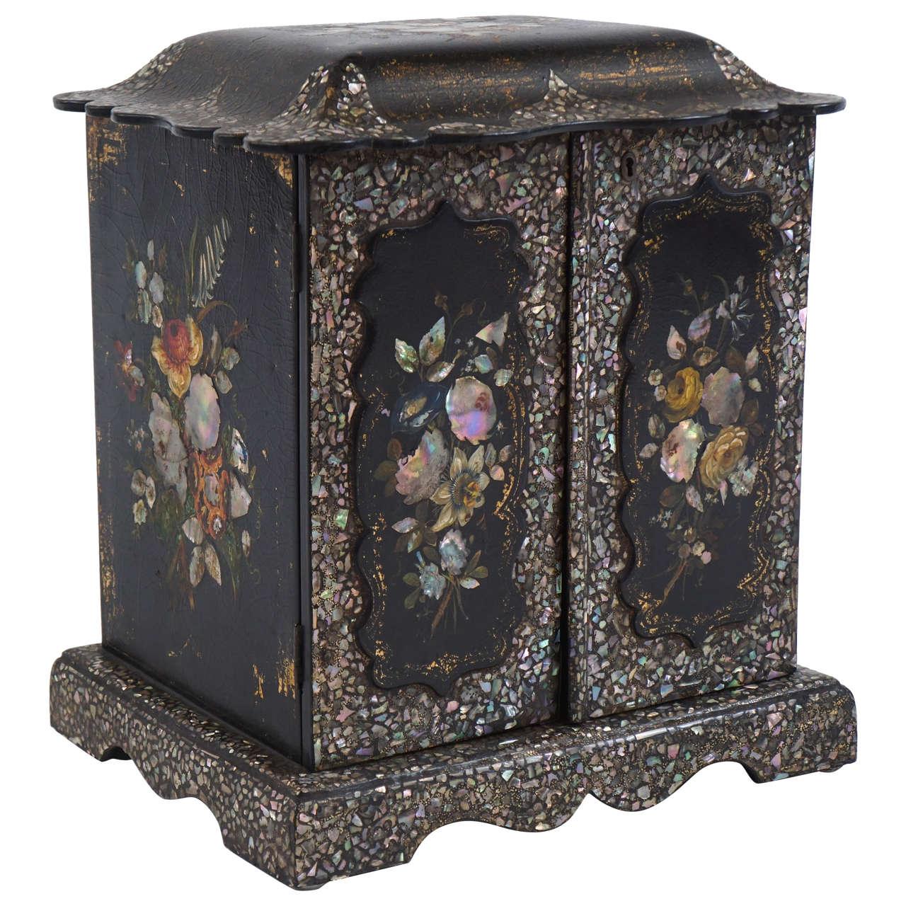 Unique Mother Of Pearl Cabinet: Papier-Mâché And Mother-of-Pearl Table Cabinet, England