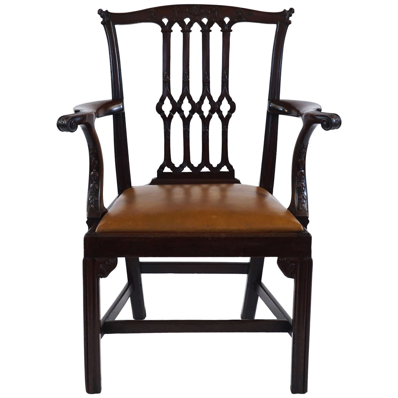 Gothic Chippendale Mahogany Armchair, England, circa 1770