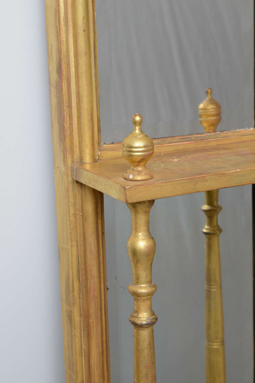 Pair of Gilded Neoclassical Mirrored Whatnots In Good Condition For Sale In West Palm Beach, FL