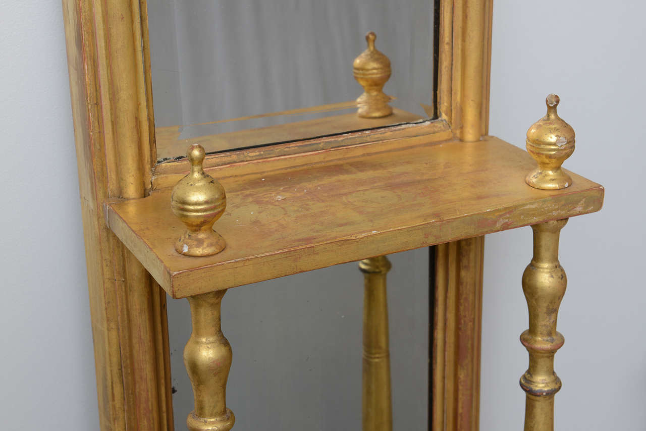 Pair of Gilded Neoclassical Mirrored Whatnots For Sale 3
