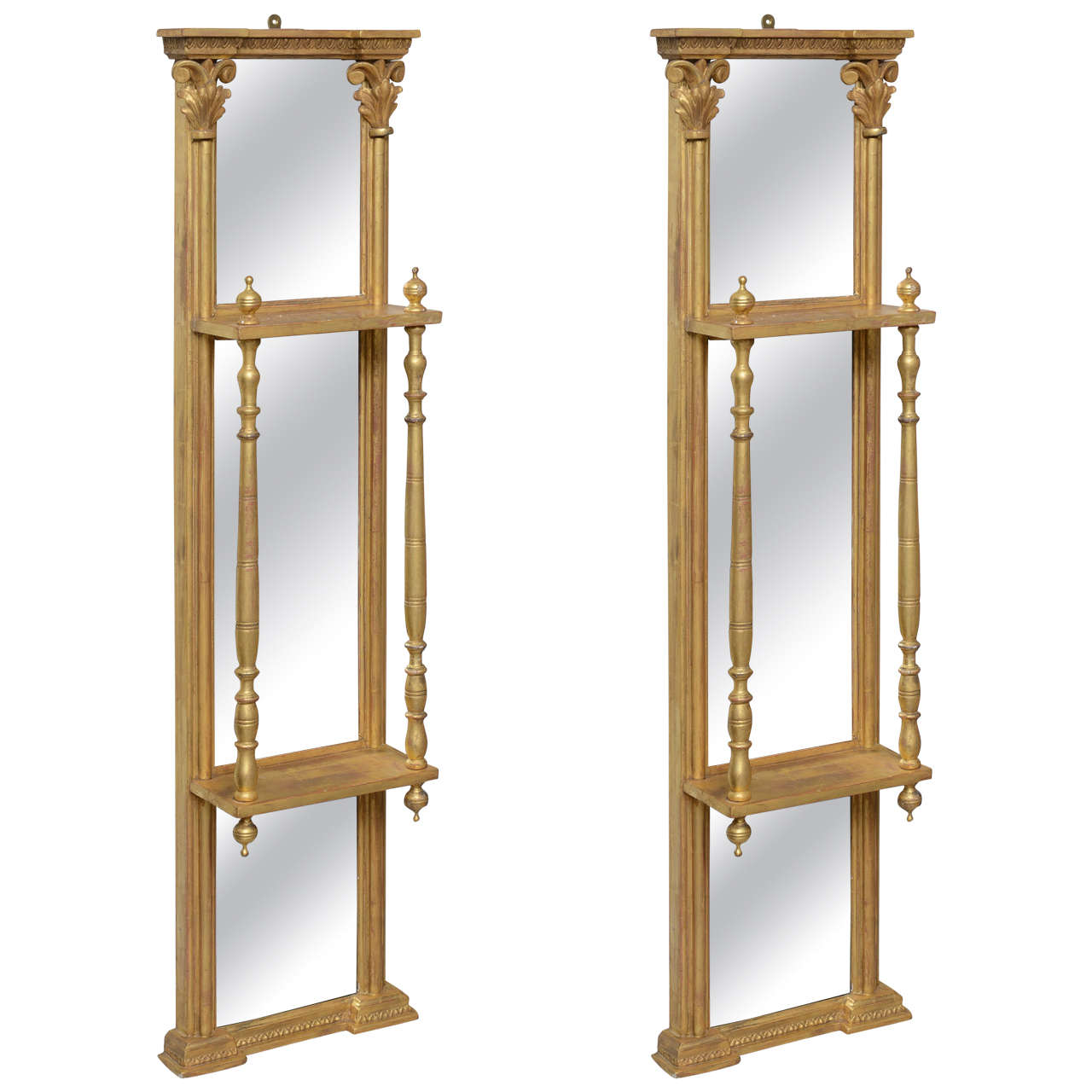 Pair of Gilded Neoclassical Mirrored Whatnots For Sale