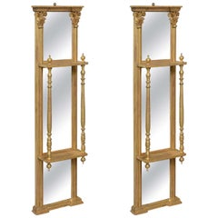 Pair of Gilded Neoclassical Mirrored Whatnots
