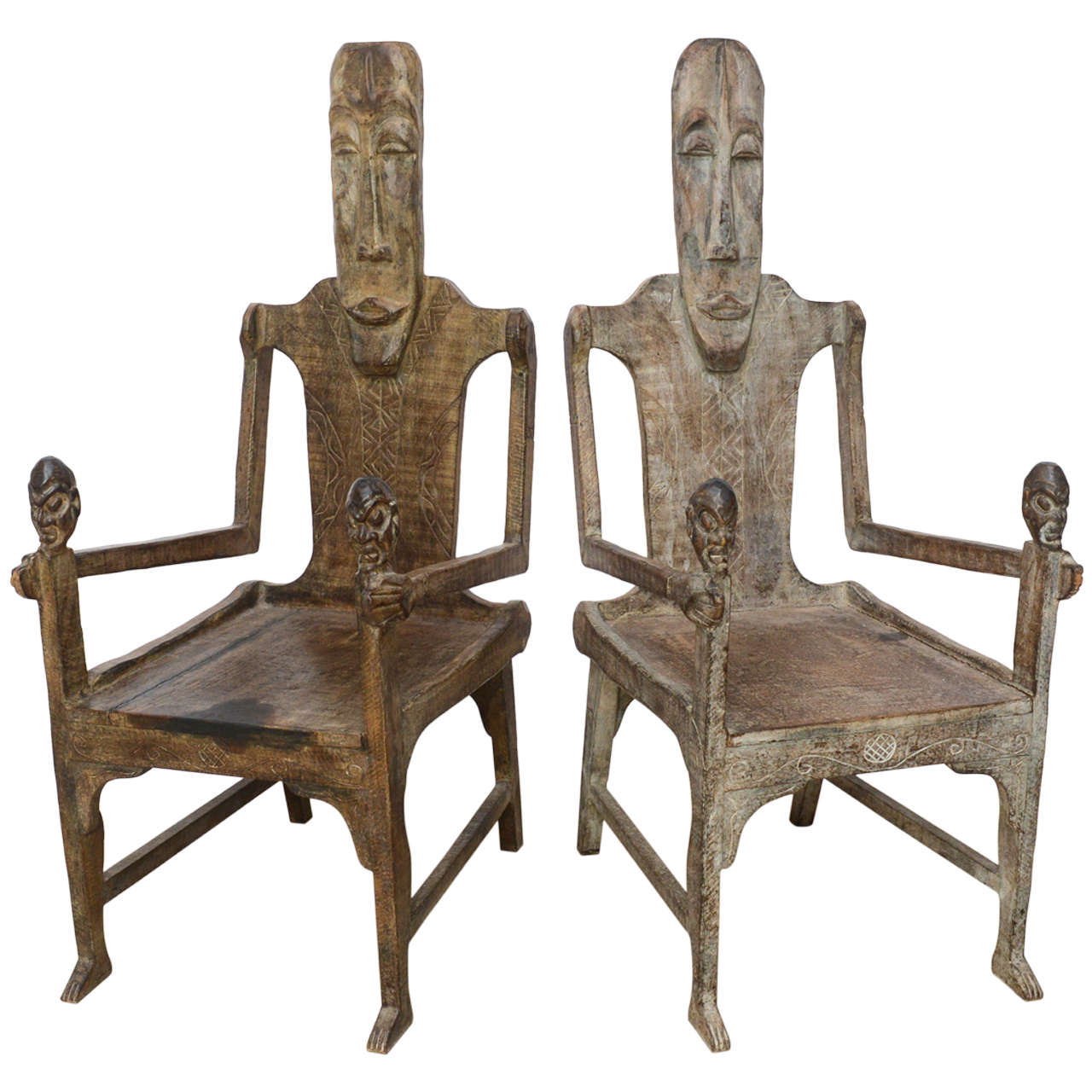 Pair of Large African Rootwood Armchairs, Late 19th-Early 20th Century
