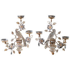 Pair of Bagues Bird Sconces