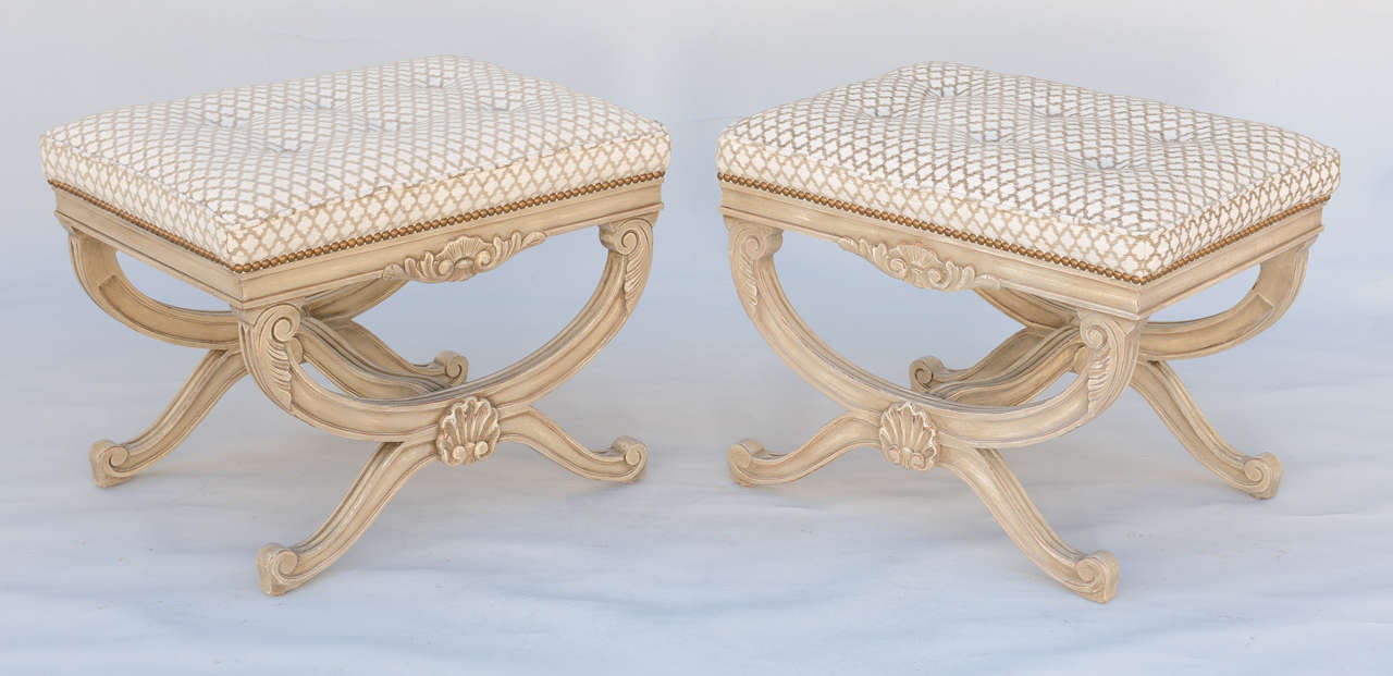 American Pair of Empire Style X-Frame Benches For Sale