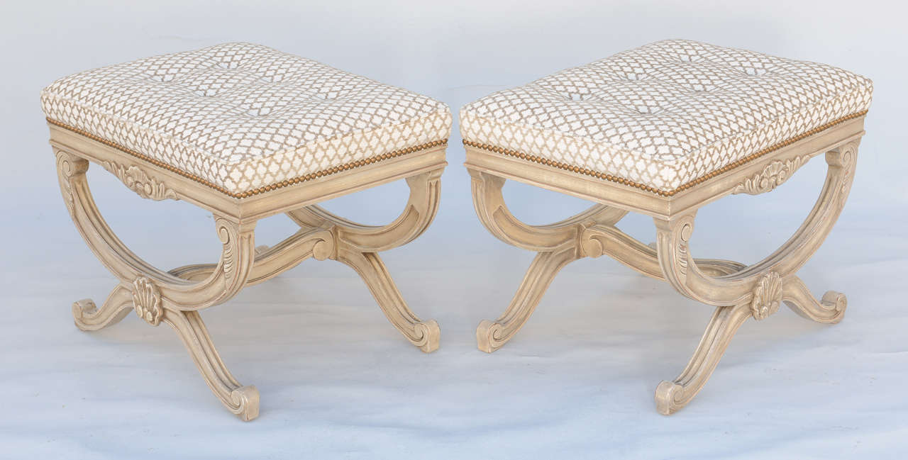 20th Century Pair of Empire Style X-Frame Benches For Sale
