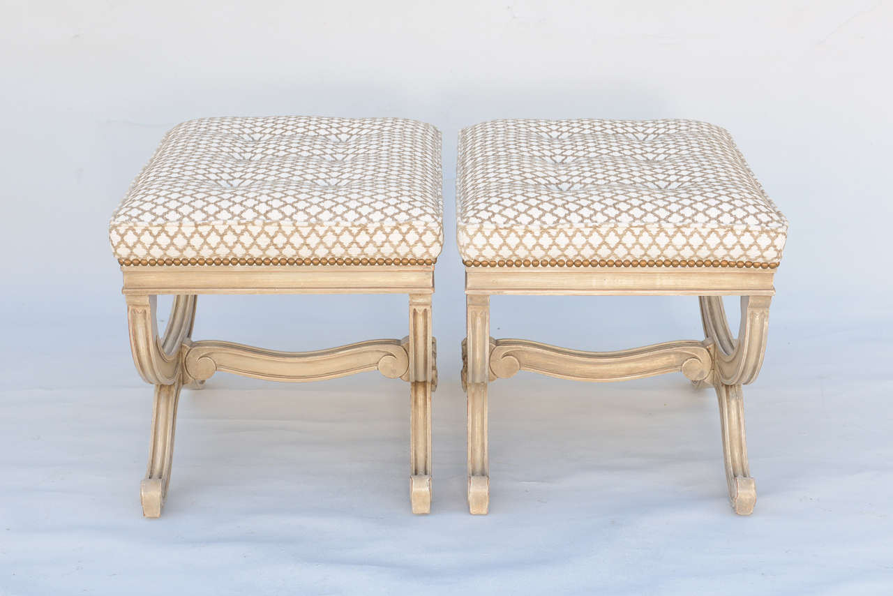 Pair of Empire Style X-Frame Benches For Sale 1