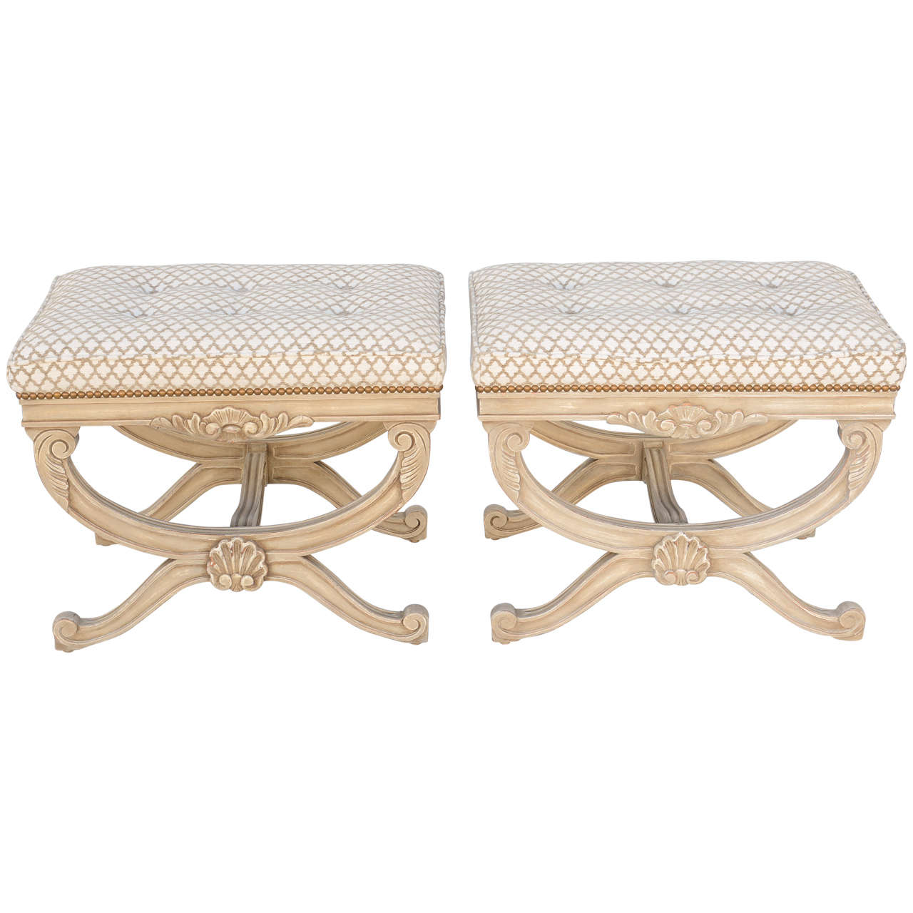 Pair of Empire Style X-Frame Benches For Sale