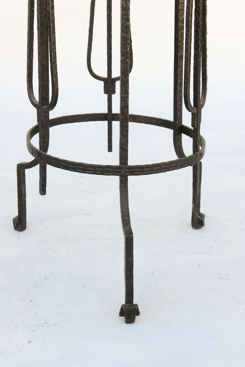 Porphyry Period Art Deco Wrought Iron Pedestal - Signed