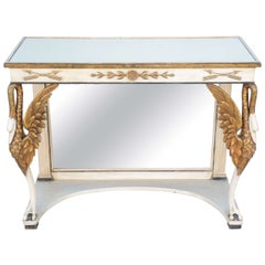 Painted and Parcel-Gilt Pier Table with Mirrored Top