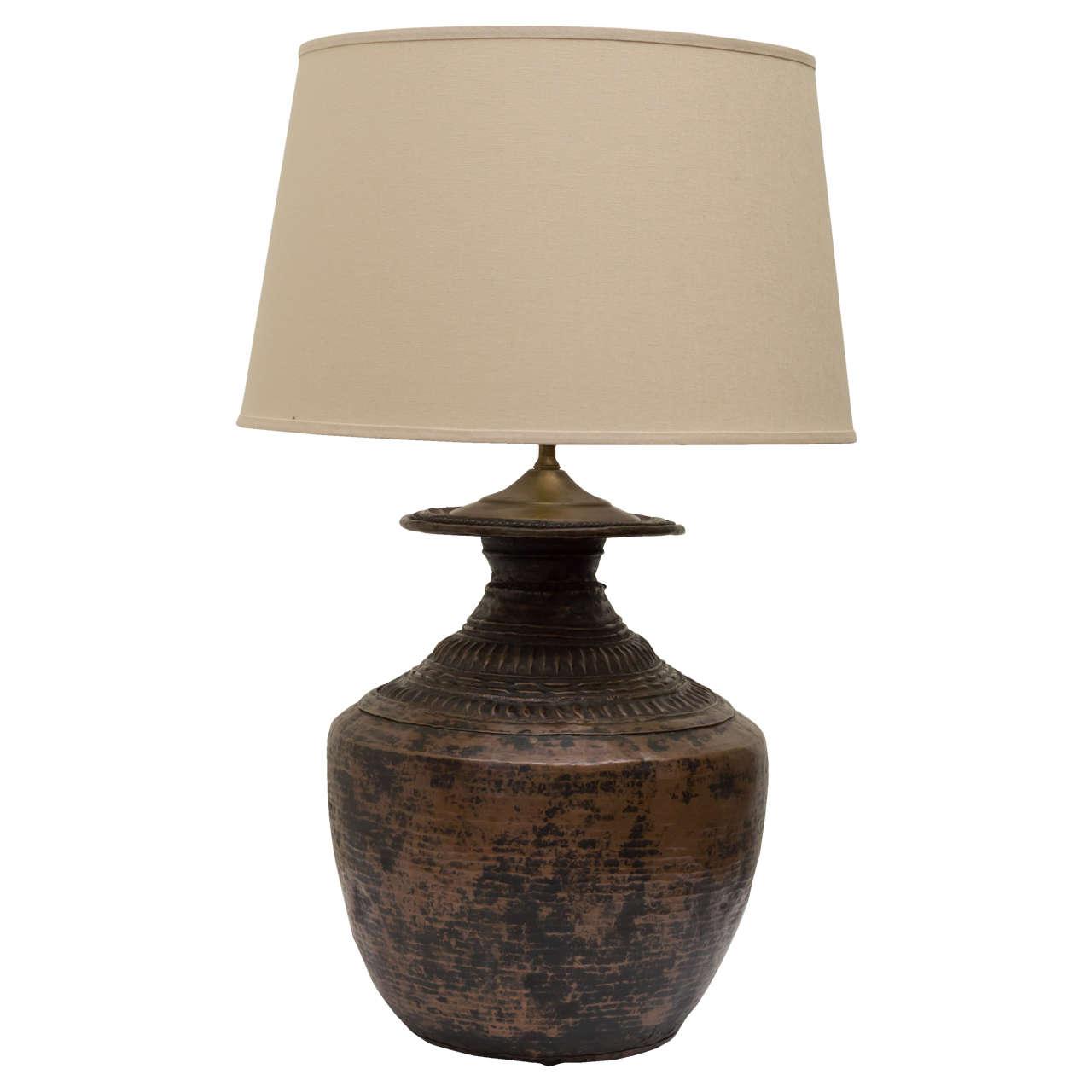 19th c primitive indian hammered copper water vessel lamp at 1stdibs. Black Bedroom Furniture Sets. Home Design Ideas