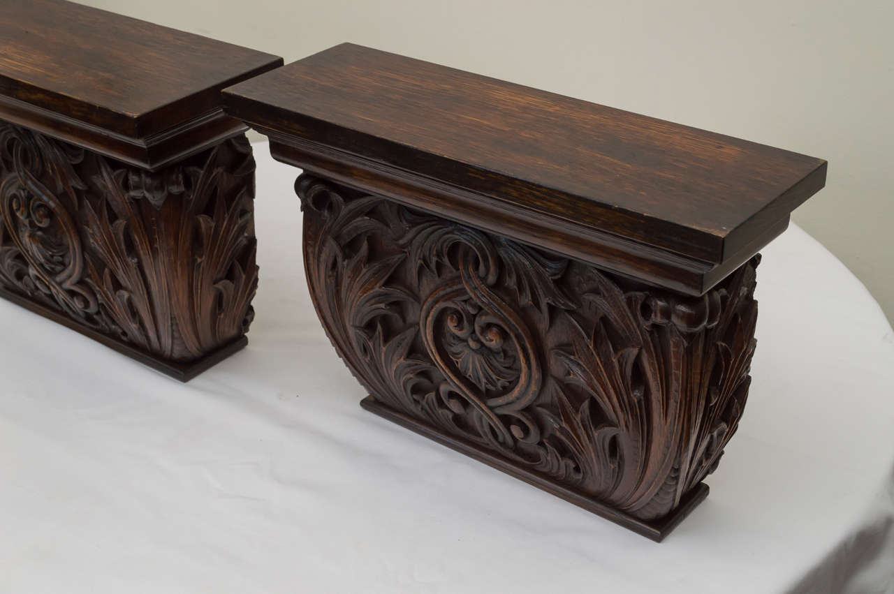Baroque Revival Pair of Late 19th Century American Oak Wall Brackets For Sale