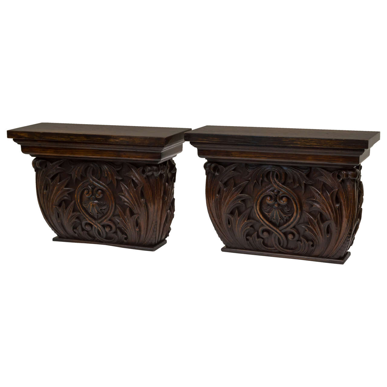 Pair of Late 19th Century American Oak Wall Brackets For Sale
