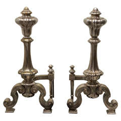 Pair of 19th Century French Silver Gilt Bronze Andirons