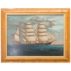 19th C. Anglo Chinese Oil Painting of a British Ship of the China Trade Period