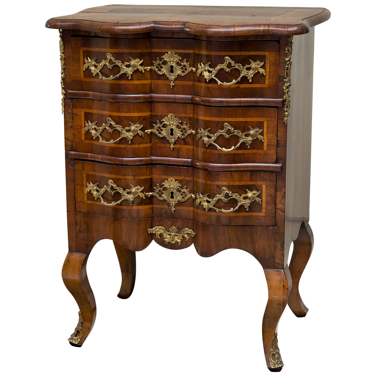 Diminutive 18th Century German Walnut Rococo Commode For Sale