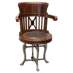 Late 19th C American Ship's Chair in Mahogany and Nickel Iron Swivel Base