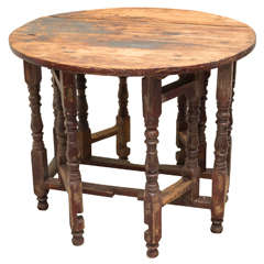 Late 18th c American Pine Double Gate Leg Table, Circa 1780